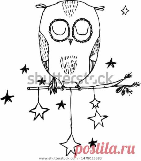 Owl sleeps on a branch. Cartoon Illustration. Vector Stock Illustration.