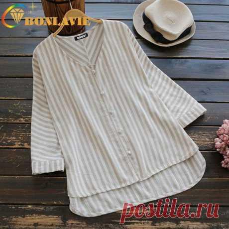 Женская модная блузка на весну и осень, рубашка в полоску с v образным вырезом и длинными рукавами, Свободная Женская одежда, женские топы в коричневую полоску