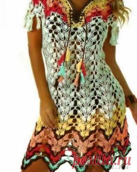 Схема узора вязания крючком для летнего платья