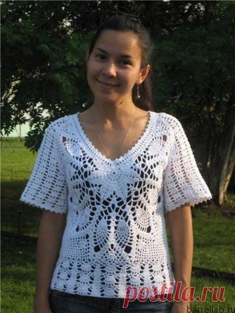 Белая блуза крючком. Ажурная женская блуза | Вязание для всей семьи