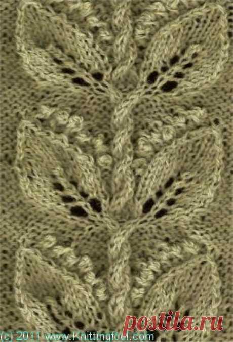 узоры с листиками спицами