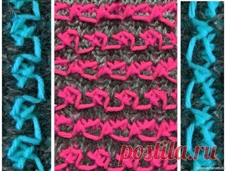 Узор ''Дабл-иероглиф''. (Double ieroglif) Видео МК   Вязание спицами для начинающих Мозаичный узор, с иероглифами двух типов,которые чередуются полосками.