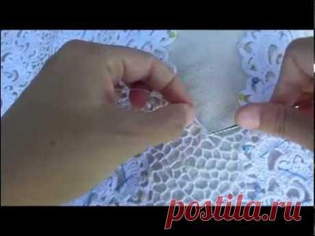 Как вязать сеточку на ирландском кружеве.Урок вязания ирландского кружева. Irish lace.