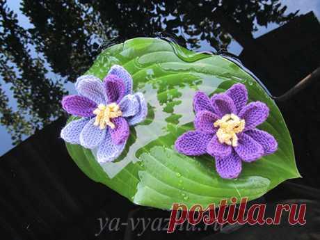Вязаные спицами цветы кувшинки (подробное описание) | Вязальное настроение...