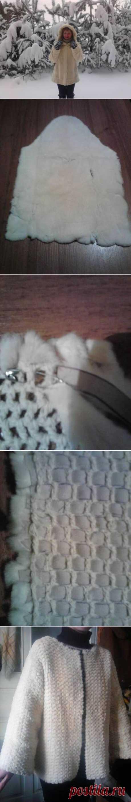 Полушубок, плетённый из меха. МК Инги.