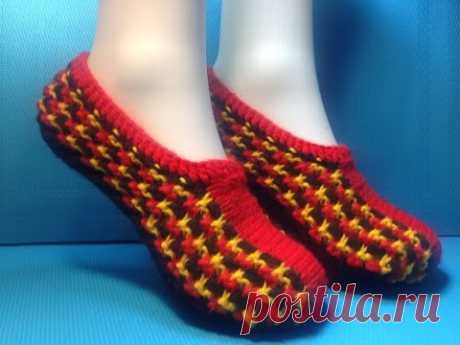 Knitting by spokes house-shoes