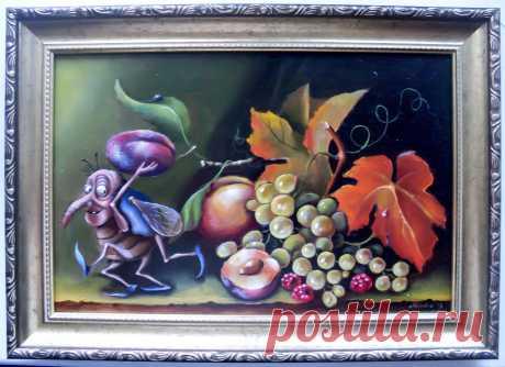 "Натюрморт "" Сливовый жмук "" :) Холст, масло. Автор Yulija Ionova."