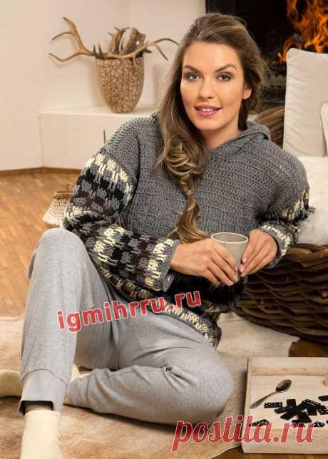Повседневный пуловер с многоцветным «клетчатым» узором. Вязание крючком со схемами и описанием
