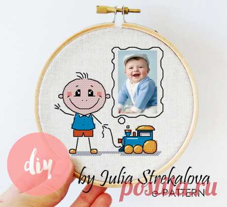 """Авторская схема для вышивки крестом """"Рамка для фото с мальчиком"""" e-pattern.ru"""