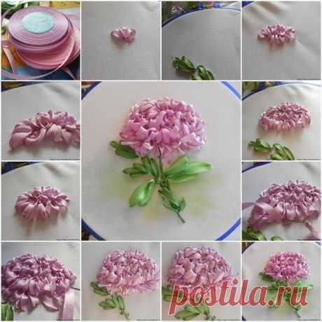 Как вышивать хризантему лентами.