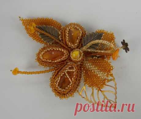 """""""Янтарный цветок&quot brooch; and To 