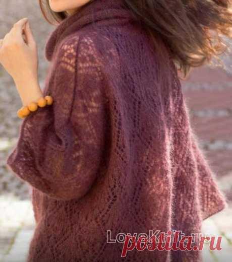 Пуловер оверсайз с ажурным узором схема спицами » Люблю Вязать