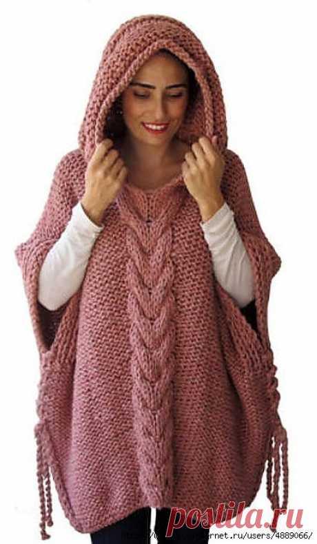 Стильное пончо с капюшоном — универсальная и уютная вязаная одежда . Милая Я