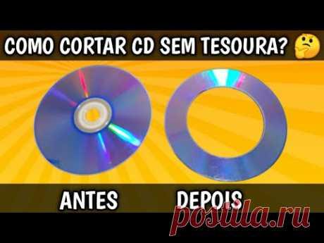 Artesanato com CDs  -  Como Cortar CDs Sem Tesoura  -  Super Idéia