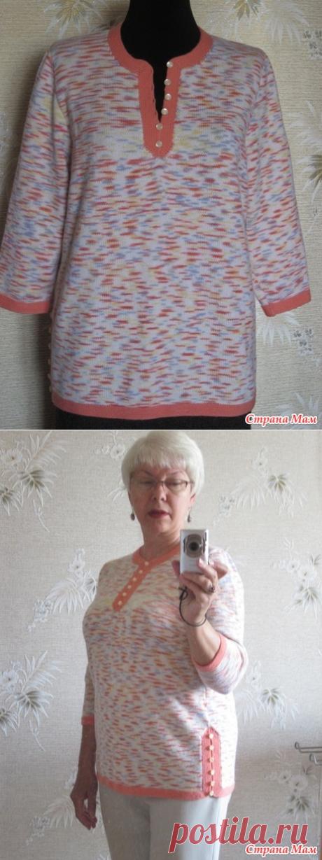 Туника бело-оранжевый меланж - Вязание - Страна Мам