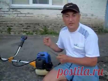 Adjustment of the carburetor of a motokosa in practice