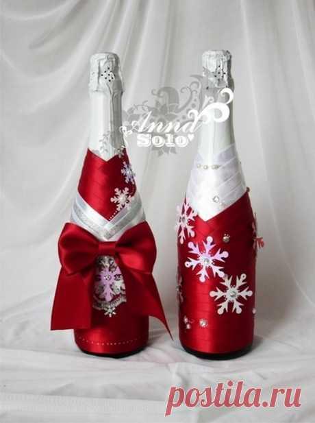 Декор бутылок к Новому году | razpetelka.ru