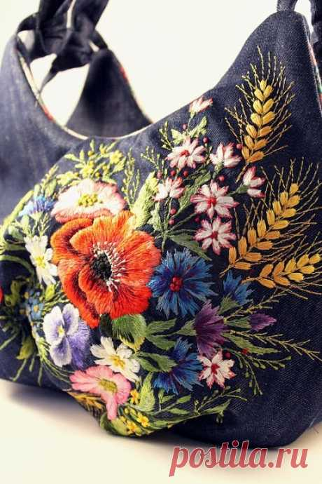The embroidered handbags.