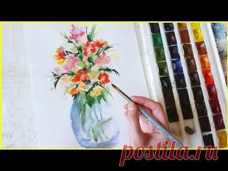 Рисуем букет цветов акварелью! Запись трансляции! 12.03.18