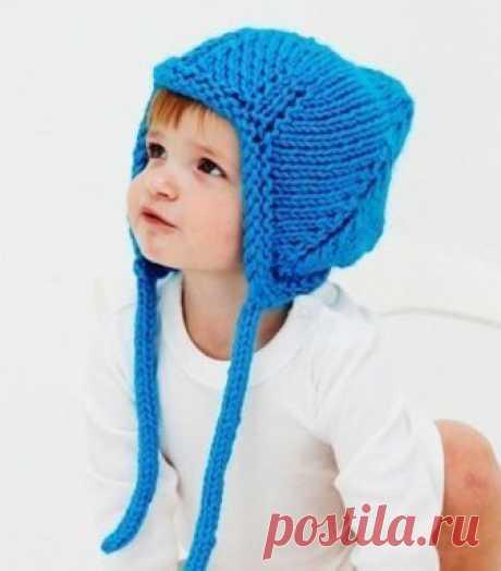 Теплая шапочка для новорожденного спицами