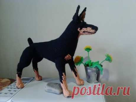 Как связать собаку Доберман, ч.1. Dobermann, р.1.  Amigurumi. Crochet.  Амигуруми. Игрушки крючком.