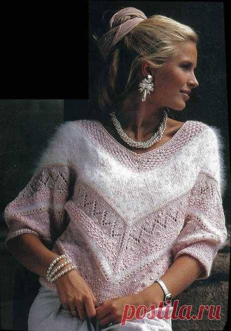 Beautiful sweater from a different yarn spokes | the Knitting novel | Yandex the Zen