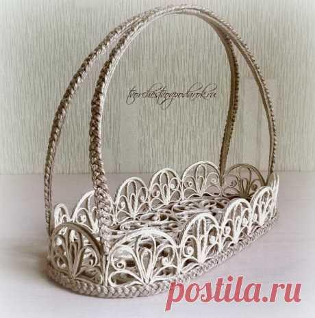 Творчество в подарок | Очень красивая корзинка из джута «Март».Красивая корзинка из джута | Джутовая филигрань