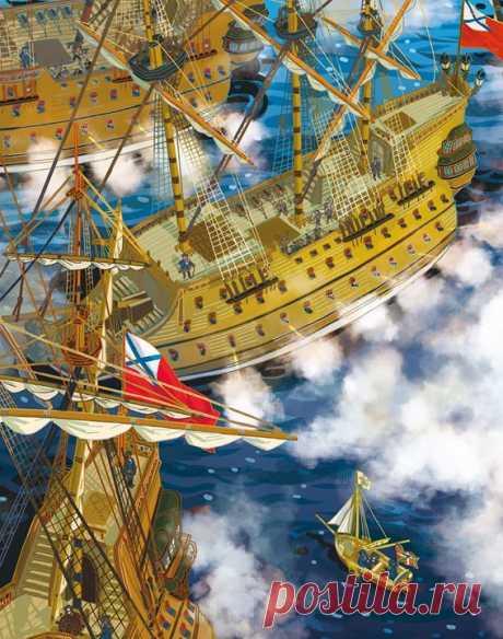 Вчера в России отметили День Военно-морского флота. А вы знаете, как в нашей стране появился флот? Делимся отрывком из энциклопедии с Чевостиком «Корабли и мореплавание» ⚓ — Смотри, Чевостик, пушки салютуют в честь «дедушки русского флота»! — Эх, жалко отсюда не увидеть этого «дедушку»! Вот не повезло. Мы с тобой, дядя Кузя, на самом маленьком кораблике оказались. — Аха-ха-ха! Вот насмешил ты меня, малыш! — А что я такого сказал? — Видишь вон того высокого человека у руля? — Ага! Это он…