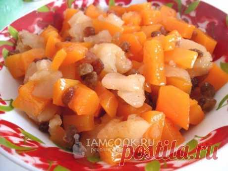 Десерт из тыквы и яблок на сковороде, рецепт с фото