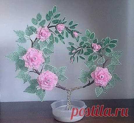 Розовое дерево из бисера — Сделай сам, идеи для творчества - DIY Ideas