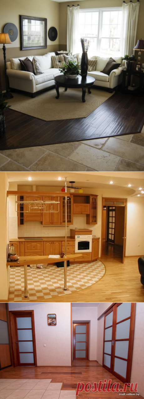 The combined floor coverings in an interior