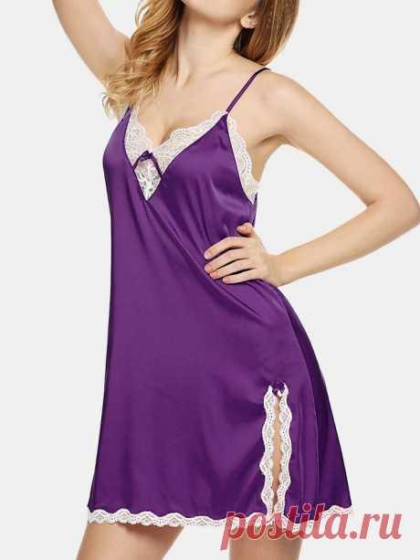 Plus Size Women Faux Silk Lace V-Neck Split Strappy Chemises Nightgown - US$13.99