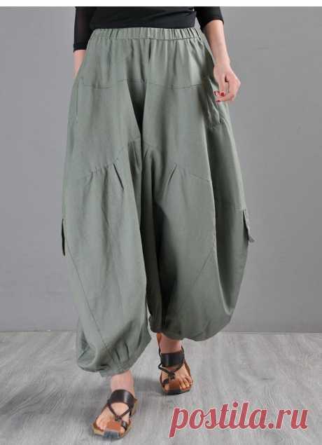 Green Linen Harem Pants-Ruffled Bloomers For Women-Boho | Etsy
