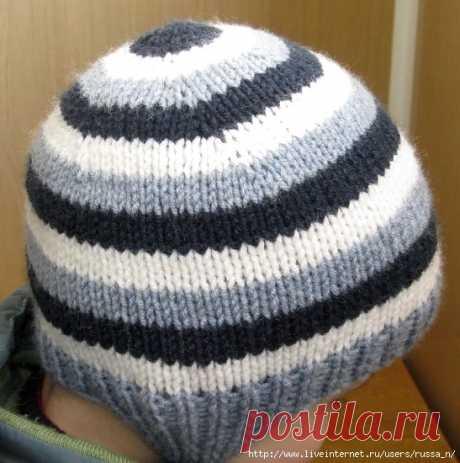 Способ вязания шапочки-ВКРУГОВУЮ С МАКУШКИ  Вязание классической шапки с макушки не очень распространено , здесь все дело в традиции. К тому же шапка, связанная вкруговую, считается настолько легкой в работе, что утруждать себя расчетами станет не каждая рукодельница. Не секрет, что при привычном вязании от нижнего края главным является расстояние от края , с которого начинают делать убавления. Эту точку нужно определять очень точно, ведь если начать раньше , то шапка буде...