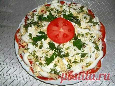 Изумительный салатик — помидоры в шубе. Красиво