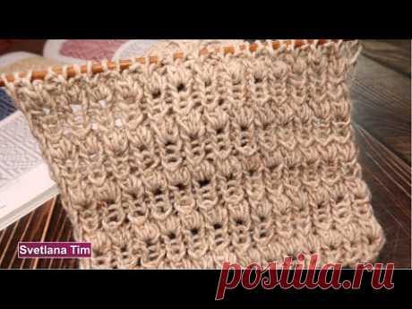 """Легкий Узор спицами """"Бутоны"""" на основе резинки для шарфика, шапочки"""