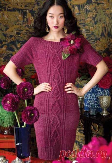 Классическое платье с горловиной лодочкой (спицы)