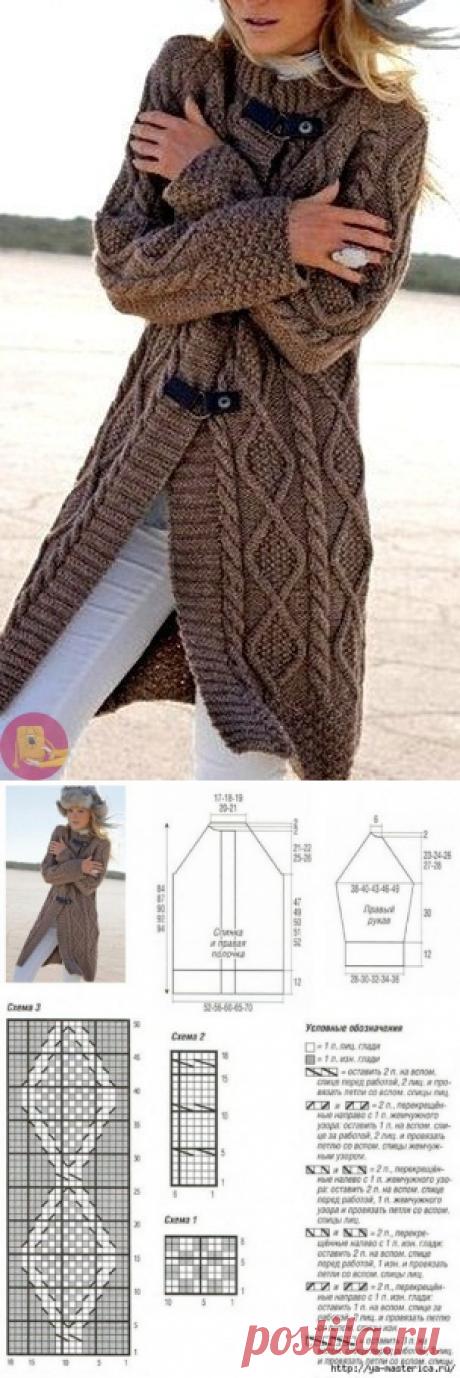 Невероятный кардиган цвета верблюжьей шерсти спицами
