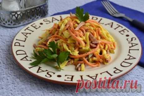 Салат с копчёной колбасой, яичными блинчиками и корейской морковью - 12 пошаговых фото в рецепте Предлагаю вам рецепт замечательного салата с копчёной колбасой, корейской морковью и яичными блинчиками. Этот достаточно сытный, в меру пикантный и очень вкусный салатик можно подать на ужин или на праздничный стол. В этом блюде отличное сочетание ингредиентов, которые прекрасно дополняют друг ...