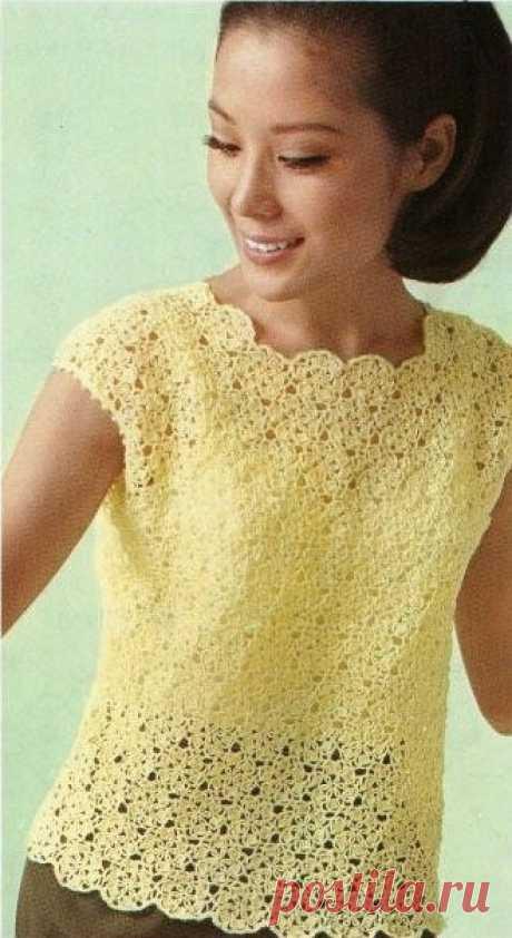 Желтая кофточка безотрывным вязанием