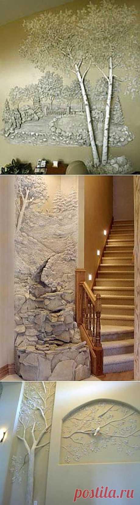 Необычная отделка стен: трехмерная роспись гипсом