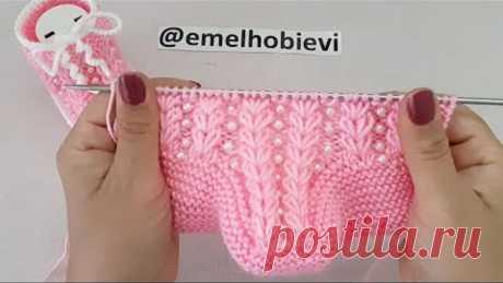 İnci Detaylı İki Şişle Buğday Başağı Desen Bebek Patiği Yapılışı/Knitting Baby Socks Booties DIY
