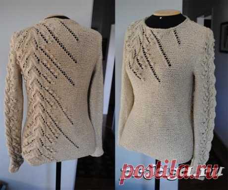 Красивый пуловер спицами с асимметричным рисунком