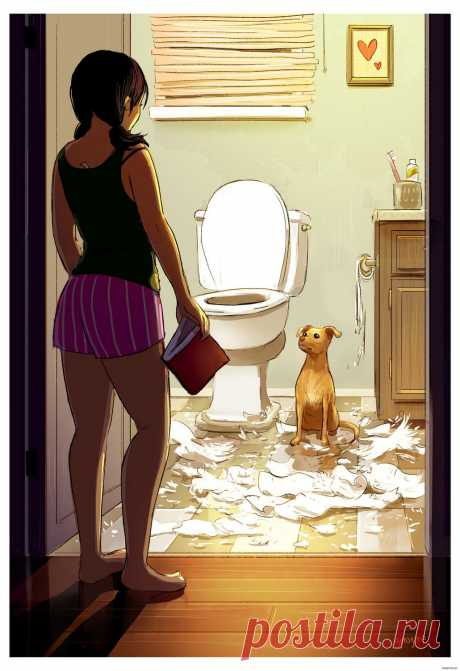 🎊 Художница показала в рисунках, как здорово жить одной если есть собака | Офигенные истории | Яндекс Дзен