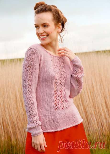Пуловер с фантазийным узором. Вязание спицами
