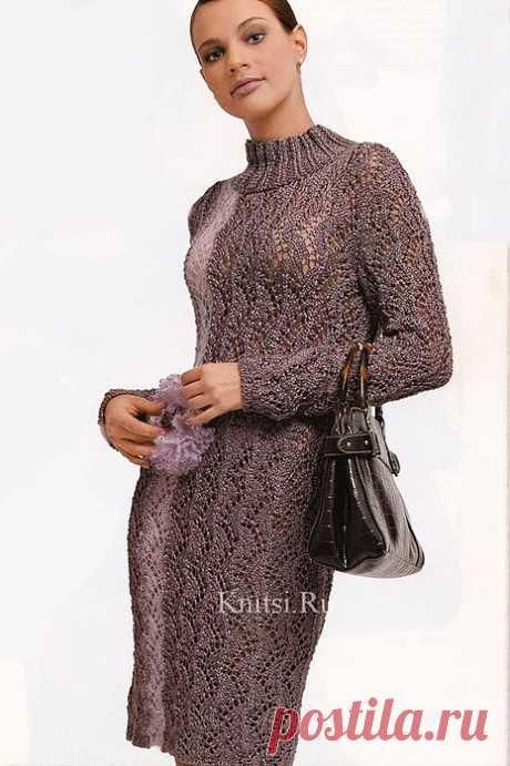 Фиолетовое платье (крючком и спицами).