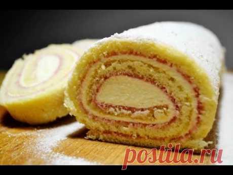 El PANECILLO DE BIZCOCHO con la Crema De queso y Smorodinovym por la Mermelada   el BIZCOCHO para el panecillo   Biscuit