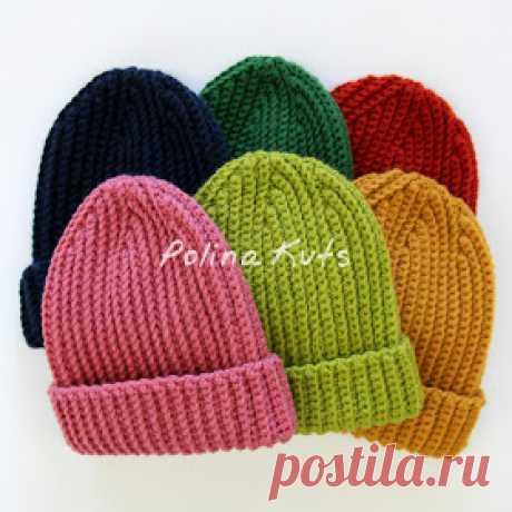 "Polina Kuts: Мастер-класс: шапка бини крючком узор ""Резинка"". Ribbed beanie hat"