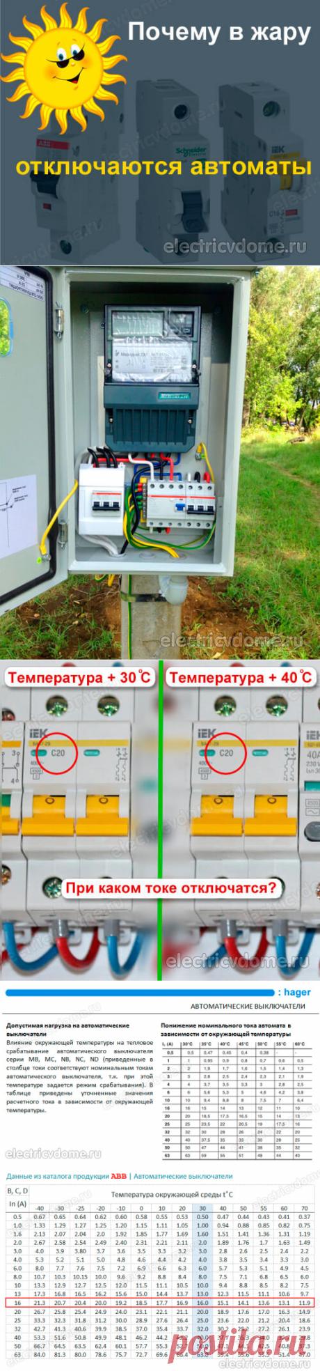 Почему в жару срабатывает автоматический выключатель. Отключается автомат в жару