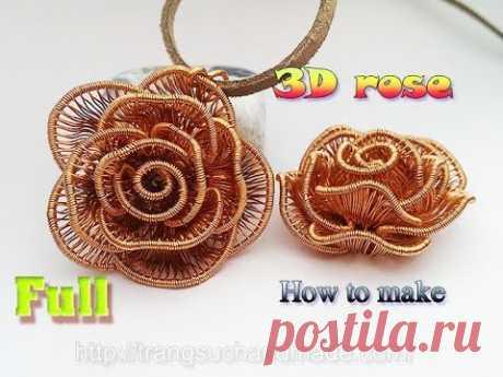 3D цветок Розы кулон - как сделать ювелирные изделия ручной работы-полная версия (медленный ) 359